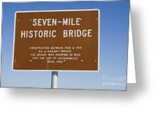 Seven Mile Bridge Florida Keys Sign Greeting Card