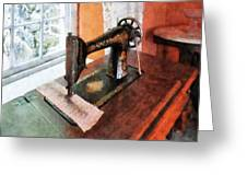 Sewing Machine Near Lace Curtain Greeting Card