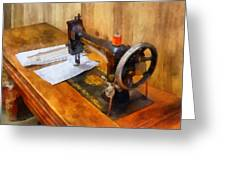 Sewing Machine With Orange Thread Greeting Card
