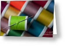 Sewing Needle With Bright Colored Spools Greeting Card