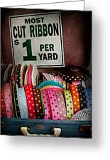 Sewing - Ribbon By The Yard Greeting Card by Mike Savad
