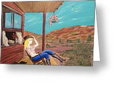 Sexy Cowgirl Sitting On A Chair At High Noon Greeting Card
