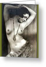Sexy Nude Dark Green Border  Greeting Card