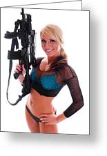 Sexy Woman Holding An Ar15 Greeting Card