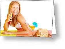 Sexy Woman Using Sunscreen Greeting Card