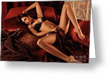 Sexy Young Woman Lying In Bed Greeting Card