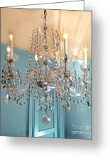 Shabby Chic Cottage Sparkling White Crystal Chandelier Photo - Dreamy Parisian Crystal Chandelier  Greeting Card