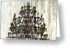 Shabby Chic Rustic Black Chandelier On White Washed Wood Greeting Card