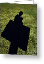 Shadow Carrying Art Portfolio And Drinking A Soda Greeting Card