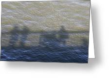 Shadow Of People Standing On The Bridge Over The River Main In Frankfurt Am Main Germany Greeting Card