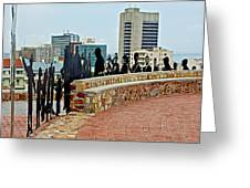 Shadow Representations Of People Coming To The Port In Donkin Reserve In Port Elizabeth-south Africa   Greeting Card