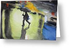 Shadows In The Rain Greeting Card