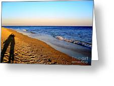 Shadows On Sand Beach Greeting Card