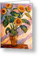 Shadows On Sunflowers Greeting Card