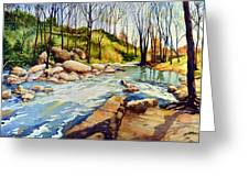 Shallow Water Rapids Greeting Card
