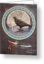 Shaman Black Raven And His Mate Medicine Woman Blue Fairy Animal Spirit Medicine Wheel Greeting Card