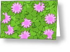 Shamrock Paper Cutting Clover Flowers Background Greeting Card