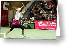 Sharapova At Qatar Open Greeting Card by Paul Cowan