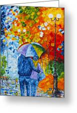 Sharing Love On A Rainy Evening Original Palette Knife Painting Greeting Card