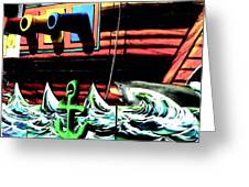 Shark And Pirate Ship Pop Art Posterized Photo Greeting Card