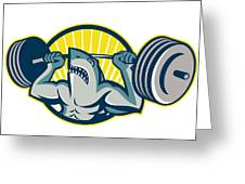 Shark Weightlifter Lifting Barbell Mascot Greeting Card by Aloysius Patrimonio