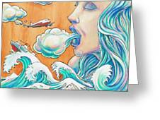 She Blows Greeting Card by Reid Jenkins