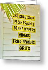 She Crab Soup And Fried Peanuts Greeting Card