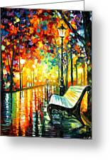 She Left... - Palette Knife Oil Painting On Canvas By Leonid Afremov Greeting Card