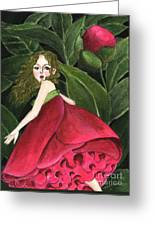 She Stole A Peony To Wear Greeting Card