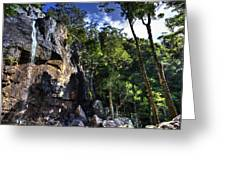 Sheer Cliff With Waterfall Greeting Card