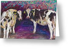 Sheltering Cows Greeting Card