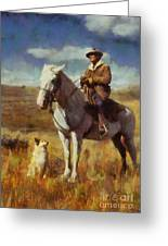 Shepherd And His Dog Greeting Card