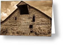 Shingle Barn Sepia 1 Greeting Card