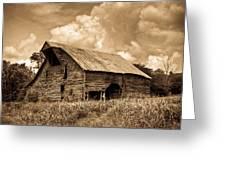 Shingle Barn Sepia 2 Greeting Card