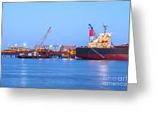 Ship And Port At Twilight Greeting Card