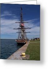 Ship At Dock Greeting Card