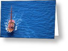Ship By The Meditteranean Sea Greeting Card