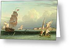 Ship Going Out, Fort Independence Greeting Card