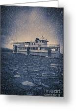 Ship In A Snowstorm Greeting Card