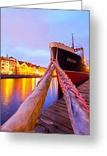 Ship In Harbor Greeting Card