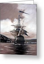 Ship In Sepia Greeting Card