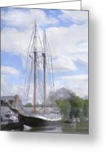 Ship In The Harbor Greeting Card