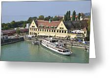 Ship In The Lindau Harbor Lake Constance Germany Greeting Card