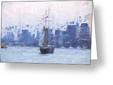 Ship Through The Haze Greeting Card