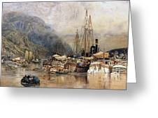 Shipping On The Hudson River Greeting Card by Samuel Colman