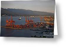 Shipping Terminals Port Of Vancouver Greeting Card