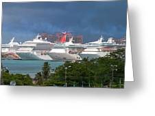 Ships And Atlantis Greeting Card