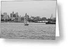 Ships And Boats In Black And White Greeting Card