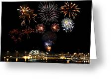 Ships And Fireworks Greeting Card