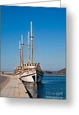 Ships At Lefkada Greeting Card by Gabriela Insuratelu